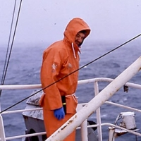 1989 - George Watters on a fishing boat